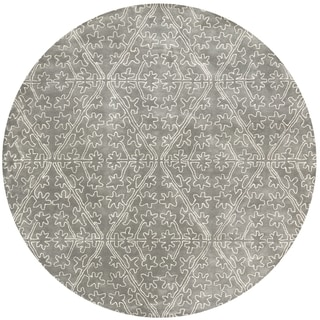Martha Stewart Strolling Rock Garden/ Grey Wool/ Viscose Rug (6' Round)