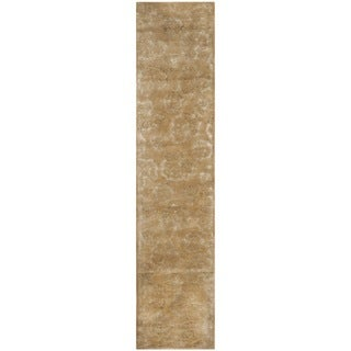 Martha Stewart Geranium Leaf Toffee Wool and Viscose Rug (2' 3 x 10')