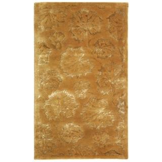 Martha Stewart Geranium Leaf Toffee Wool/ Viscose Rug (3' 9 x 5' 9)