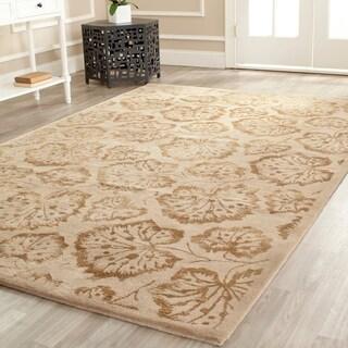Martha Stewart Geranium Leaf Hazelnut/ Gold Wool/ Viscose Rug (9' 6 x 13' 6)