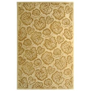 Martha Stewart Geranium Leaf Hazelnut/ Gold Wool/ Viscose Rug (8' 6 x 11' 6)