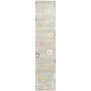 Martha Stewart Garland Pearl/ Grey Wool/ Viscose Rug (2' 3 x 10')