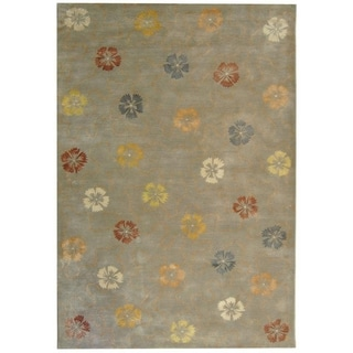 Martha Stewart Garland Pearl/ Grey Wool/ Viscose Rug (7' 9 x 9' 9)