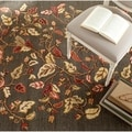 Martha Stewart Autumn Woods Francesca Black Wool/ Viscose Rug (9' 6 x 13' 6)