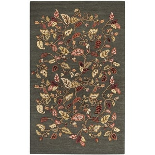 Martha Stewart Autumn Woods Francesca Black Wool/ Viscose Rug (5' x 8')