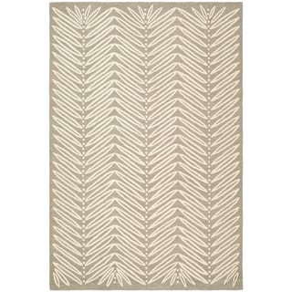 Martha Stewart Chevron Leaves Chamois Beige Wool/ Viscose Rug (4' x 6')