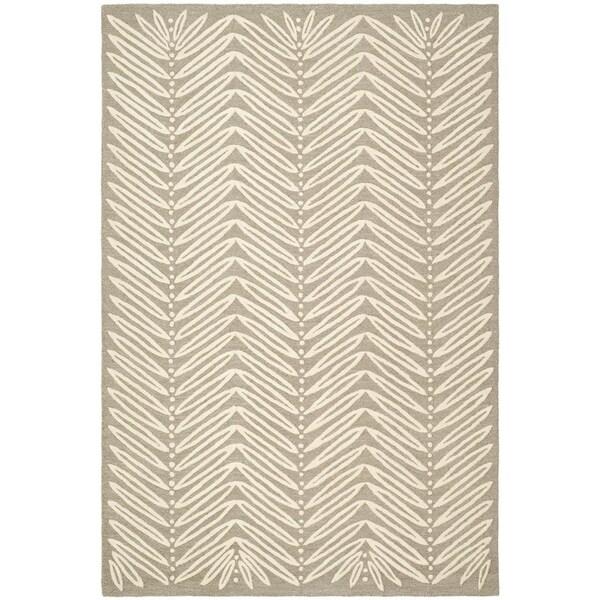 Martha Stewart Chevron Leaves Chamois Beige Wool/ Viscose Rug (5' x 8')