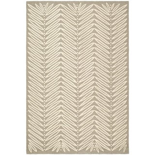 Martha Stewart Chevron Leaves Chamois Beige Wool/ Viscose Rug (9' x 12')