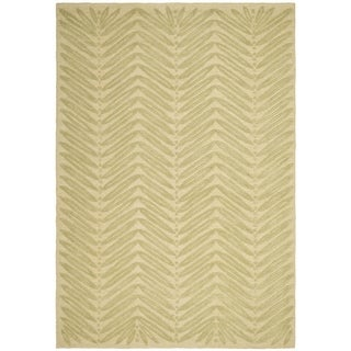 Martha Stewart Chevron Leaves Oolong Tea Gree Wool/ Viscose Rug (4' x 6')
