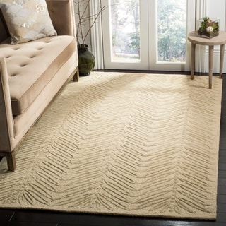 Martha Stewart Chevron Leaves Oolong Tea Gree Wool/ Viscose Rug (5' x 8')