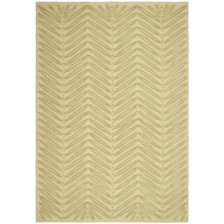 Martha Stewart Chevron Leaves Oolong Tea Gree Wool/ Viscose Rug (8' x 10')