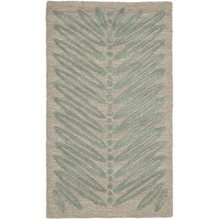 Martha Stewart Chevron Leaves Blue Fir Wool/ Viscose Rug (2' 6 x 4' 3)
