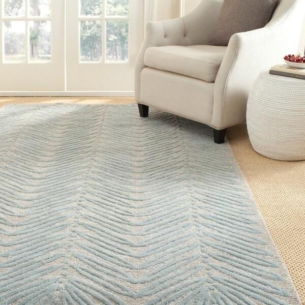 Martha Stewart Chevron Leaves Blue Fir Wool/ Viscose Rug (5' x 8')