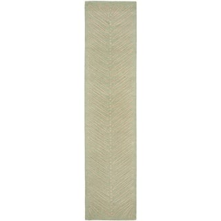 Martha Stewart Chevron Leaves Milk Pail Green Wool/ Viscose Rug (2' 3 x 10')