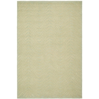Martha Stewart Chevron Leaves Milk Pail Green Wool/ Viscose Rug (9' x 12')