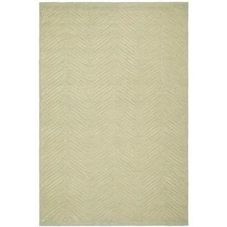 Martha Stewart Chevron Leaves Milk Pail Green Wool/ Viscose Rug (9' x 12')