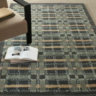 Martha Stewart Colorweave Plaid Wrought Iron Navy Wool/ Viscose Rug (9' 6 x 13' 6)