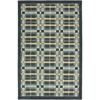Martha Stewart Colorweave Plaid Wrought Iron Navy Wool/ Viscose Rug (9' x 12')