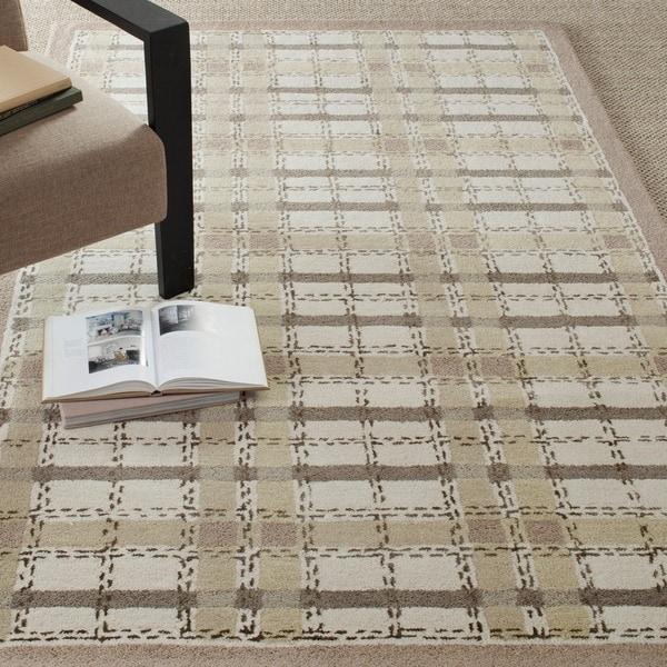 Martha Stewart Colorweave Plaid Sharkey Grey Wool/ Viscose Rug (9' 6 x 13' 6)