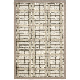 Martha Stewart Colorweave Plaid Sharkey Grey Wool/ Viscose Rug (8' x 10')