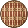 Martha Stewart Colorweave Plaid October Leaf Red Wool/ Viscose Rug (6' Round)
