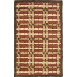 Martha Stewart Colorweave Plaid October Leaf Red Wool/ Viscose Rug (8' x 10')