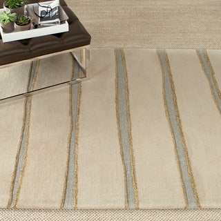 Martha Stewart Chalk Stripe Wheat Beige Wool/ Viscose Rug (4' x 6')