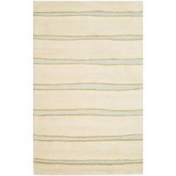 Martha Stewart Chalk Stripe Wheat Beige Wool/ Viscose Rug (5' x 8')