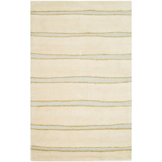 Martha Stewart Chalk Stripe Wheat Beige Wool/ Viscose Rug (8' x 10')