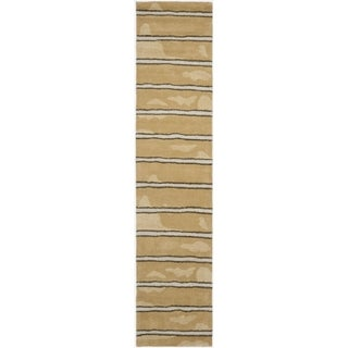 Martha Stewart Chalk Stripe Toffee Gold Wool/ Viscose Rug (2' 3 x 10')
