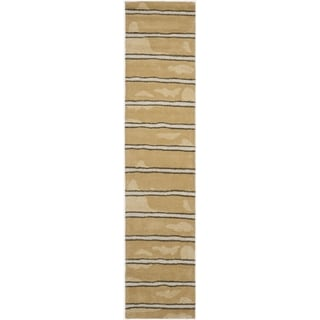 Martha Stewart Chalk Stripe Toffee Gold Wool/ Viscose Rug (2' 3 x 10')