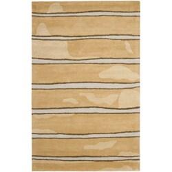 Martha Stewart Chalk Stripe Toffee Gold Wool/ Viscose Rug (8' x 10')
