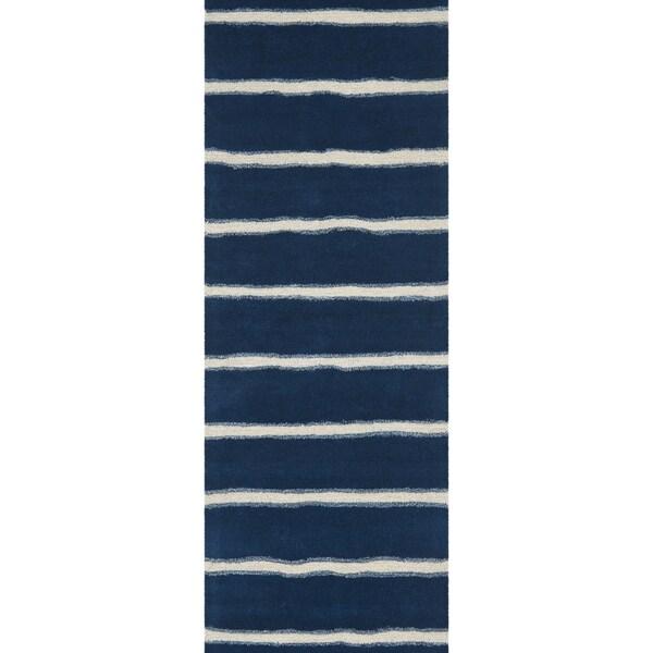 Martha Stewart Chalk Stripe Wrought Iron Navy Wool/ Viscose Rug (2' 6 x 10')