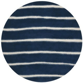 Martha Stewart Chalk Stripe Wrought Iron Navy Wool/ Viscose Rug (6' Round)