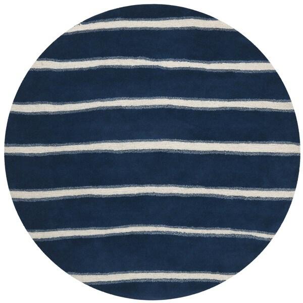 Martha Stewart Chalk Stripe Wrought Iron Navy Wool/ Viscose Rug (6' Round)