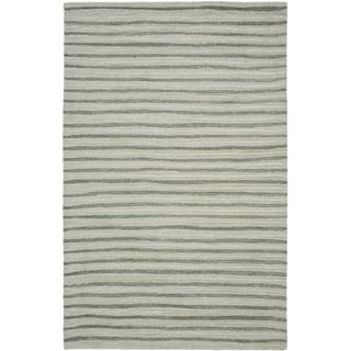 Martha Stewart Hand Drawn Stripe Nimbus Cloud Grey Wool/ Viscose Rug (4' x 6')