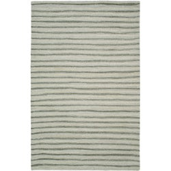 Martha Stewart Hand Drawn Stripe Nimbus Cloud Grey Wool/ Viscose Rug (5' x 8')
