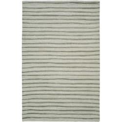 Martha Stewart Hand Drawn Stripe Nimbus Cloud Grey Wool/ Viscose Rug (5' x 8')