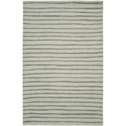 Martha Stewart Hand Drawn Stripe Nimbus Cloud Grey Wool/ Viscose Rug (8' x 10')