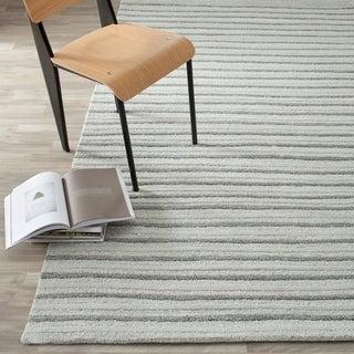Martha Stewart Hand Drawn Stripe Nimbus Cloud Grey Wool/ Viscose Rug (8' x 10')