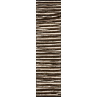 Martha Stewart Hand Drawn Stripe Tilled Soil Brown Wool/ Viscose Rug (2' 3 x 10')