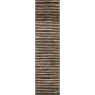 Martha Stewart Hand Drawn Stripe Tilled Soil Brown Wool/ Viscose Rug (2' 3 x 10')
