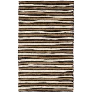 Martha Stewart Hand Drawn Stripe Tilled Soil Brown Wool/ Viscose Rug (2' 6 x 4' 3)