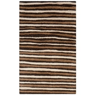 Martha Stewart Hand Drawn Stripe Tilled Soil Brown Wool/ Viscose Rug (2' 6 x 4' 3)
