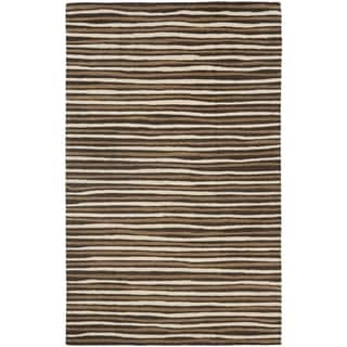Martha Stewart Hand Drawn Stripe Tilled Soil Brown Wool/ Viscose Rug (4' x 6')