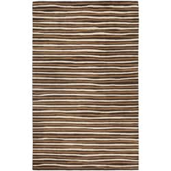 Martha Stewart Hand Drawn Stripe Tilled Soil Brown Wool/ Viscose Rug (9' x 12')