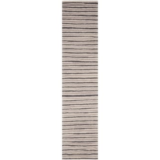 Martha Stewart Hand Drawn Stripe Wampum Purple Wool/ Viscose Rug (2' 3 x 10')