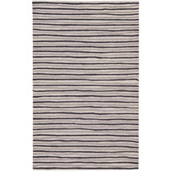 Martha Stewart Hand Drawn Stripe Wampum Purple Wool/ Viscose Rug (8' x 10')