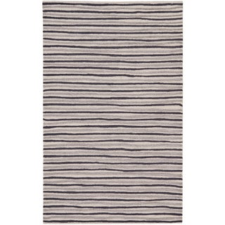 Martha Stewart Hand Drawn Stripe Wampum Purple Wool/ Viscose Rug (9' x 12')