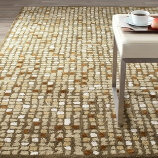 Martha Stewart Mosaic Oolong Tea Green Wool/ Viscose Rug (4' x 6')
